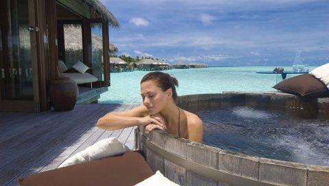 Девушка, ванна, дома, остров, мальдив, океан