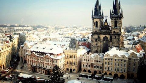 Праге, чешский, город, чешская республика, вид сверху