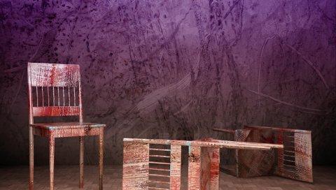 Стулья, три, плитка, фиолетовый фон, старый, абстрактный