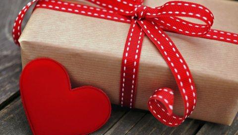 Коробка, подарок, праздник, сердце, красный, лента