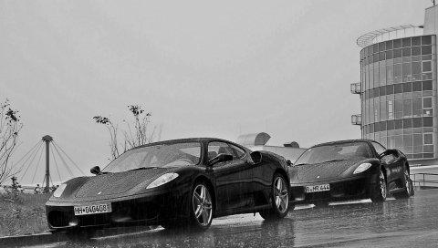 Ferrari, дождь, здание, черно-белый
