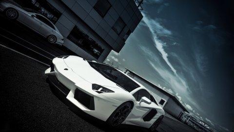 Lamborghini aventador, белый, вид сбоку,