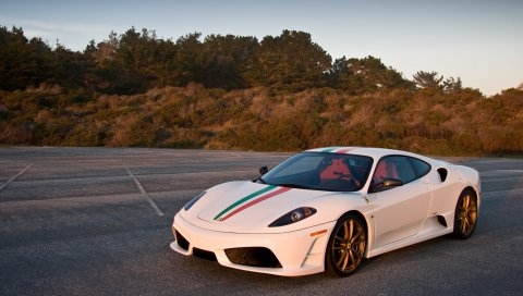 Ferrari, автомобили, стильный, белый, след