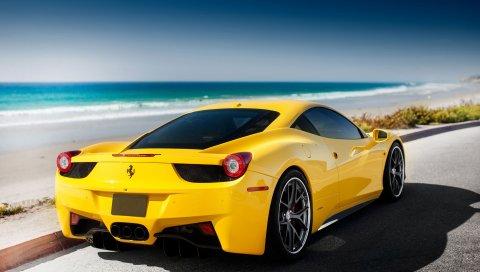 458, italia, море, феррари, тюнинг, желтый