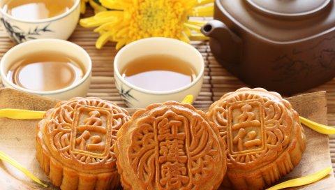 Цветок, чашка, чай, лепестки, напитки, печенье, фарфор