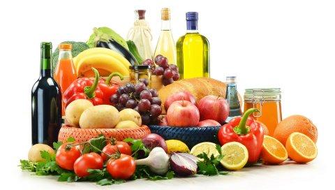 Фрукты, овощи, хлеб, вино, масло, перец, лимон, лук, чеснок, помидоры, травы, картофель, яблоки, виноград, сок, бананы, баклажан, брокколи, банки, мед, уксус