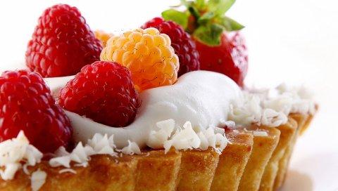 Пирог, малина, белый, крупный план