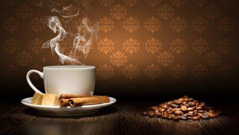 Кофе, пар, корицу, сахар, чашку, блюдце, зернистый стол