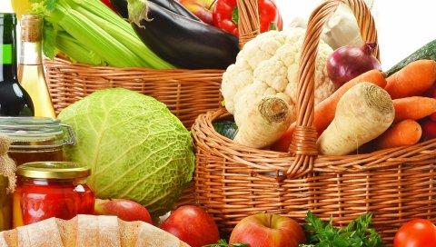 Корзины, овощи, фрукты, хлеб, помидоры, перец, грибы, травы, яблоки, банки, огурцы, соленья, вино, красный, белый, бутылка, капуста, цветная капуста, лук, морковь, редис, полосатая кефаль, баклажан