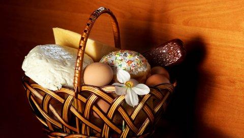 Корзина, пасхальные яйца, колбаса, сыр, яйца