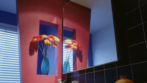 зеркала, вазы, цветы, ванная