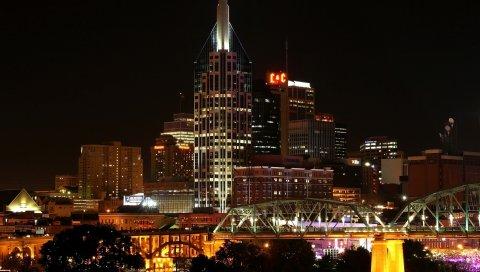 города, США, Nashville Теннеси, ночь, город, здания, небоскребы, огни, деревья, мосты