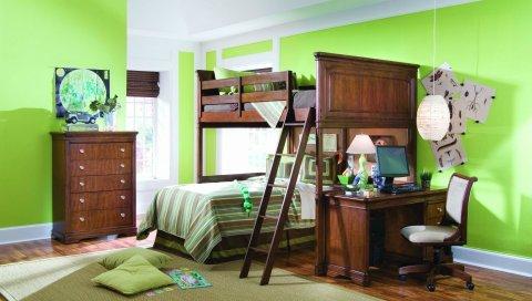 интерьер, комната, квартира,кухня, кровать, стол, стул, компьютер, лампа, подушки, зеркало, ковры, зеленый