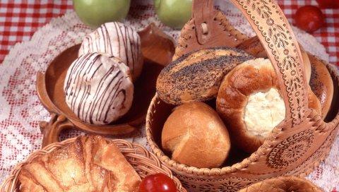 Хлеб, булочки, выпечка, корзина