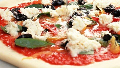 Пицца, масло, маслины, сыр, травы