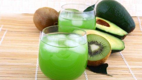 Киви, сок, лед, напитки, фрукты, авокадо, очки