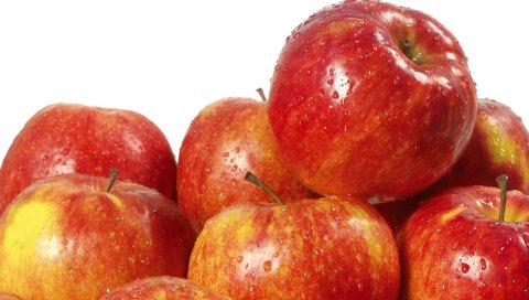 Капли, красные яблоки, спелые, вкусные