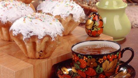 Кексы, опрыскивание, сладость, чай