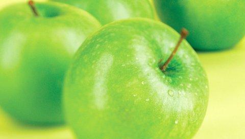 Яблоко, капли, фрукты, зеленый