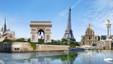 Мост, река лебедь, творчество, Эйфелева башня, дуга триумфа, отражение