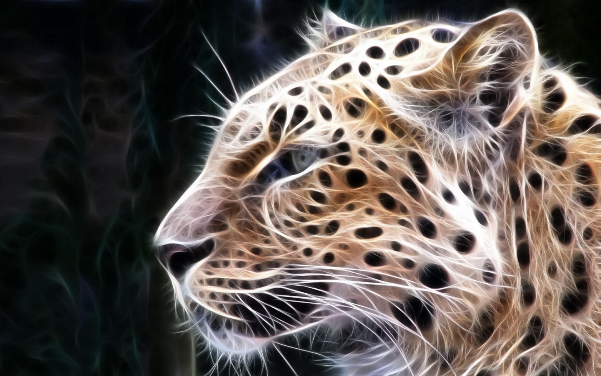 Картинки Леопард, свет, линии, свечение фото и обои на рабочий стол