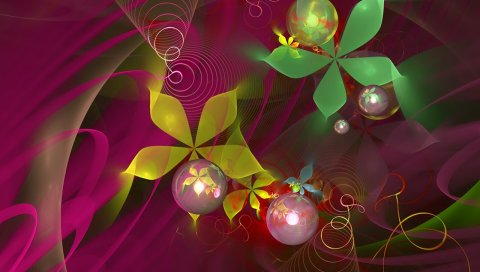 Цветы, круги, свет, яркие