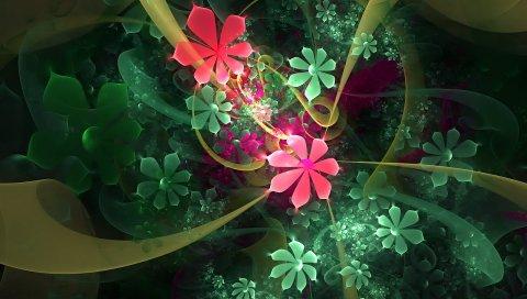 Цветы, падение, фрактал, свет, яркий