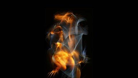 Литье, рука, дым, фон
