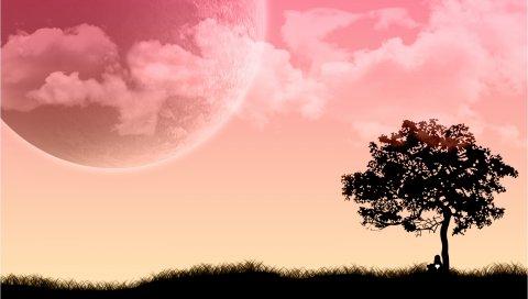 Ature, дерево, человек, луна, трава
