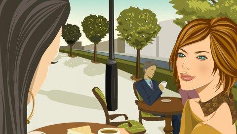 Девушки, кафе, еда, ходьба, встреча