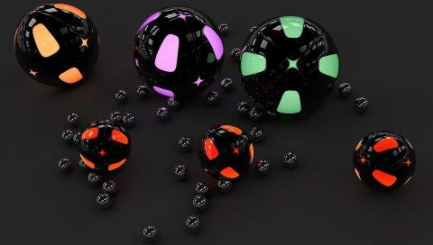 Сфера, сферы, поверхность, свет, серый фон, неон