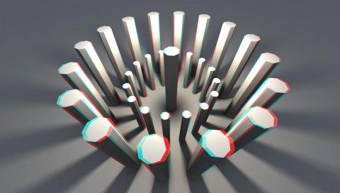 Фигуры, анаглиф, палочки, свет, 3d