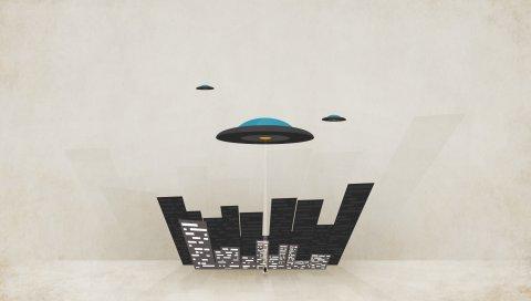 Плиты, минимальные стены, город, ufo, минимализм, полет