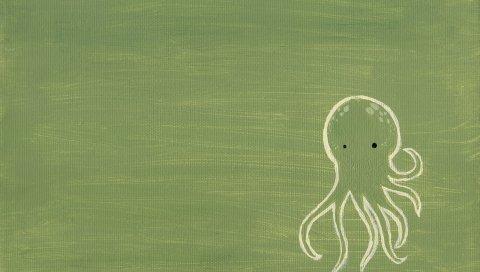 зеленые, осьминог, рисунок