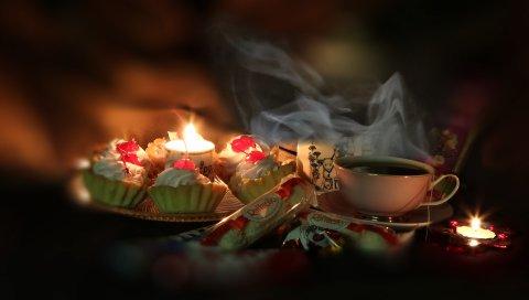 чай, китайские, цветы, зеленый, хризантема, печенье