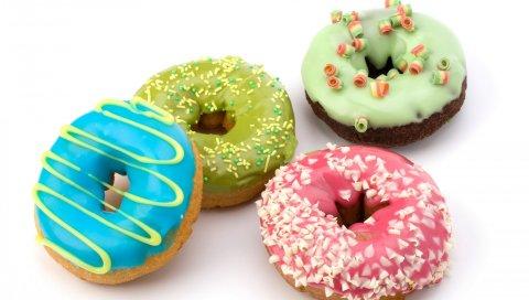 пончики, пирожные, конфеты, десерты, шоколад, глазурь, мед