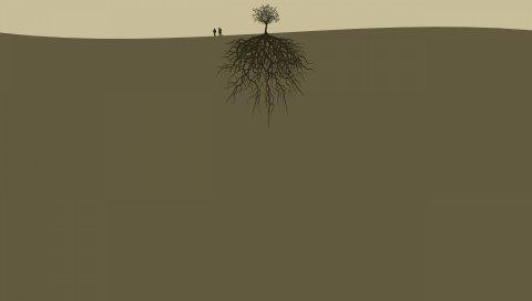 землю, деревья, корни, люди, пара, два