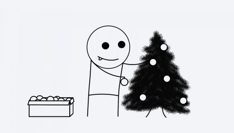 дерева, новый год, маленький человек
