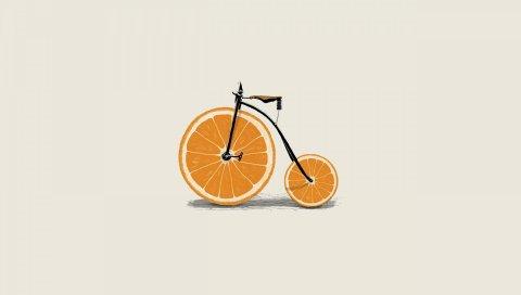 оранжевая, клинья, колесо, велосипед, минимализм, велосипед