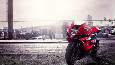 GSX-R, Судзуки, мотоцикл, красный, 1000