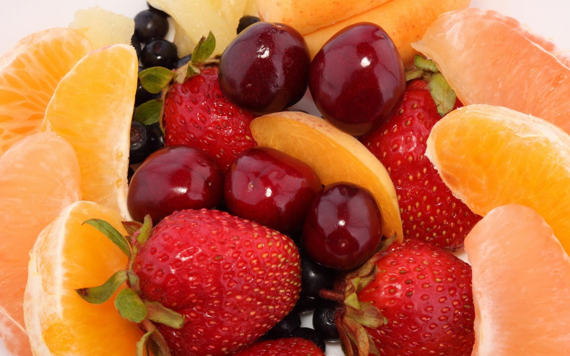Картинки клубника, апельсин, грейпфрут, черника, вишня, десерт, фрукты, ягоды, продукты питание фото и обои на рабочий стол