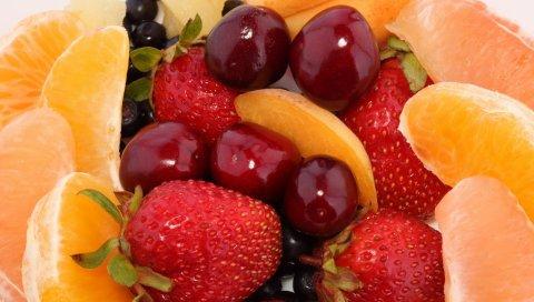 клубника, апельсин, грейпфрут, черника, вишня, десерт, фрукты, ягоды, продукты питание