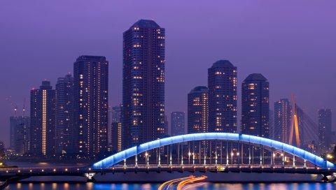 Япония, Токио, столица, мегаполис, небоскребы, ночь, мост, освещение, экспозиция, огни, река, сиреневый, небо