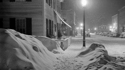 улица, ночь, город, снег, зима