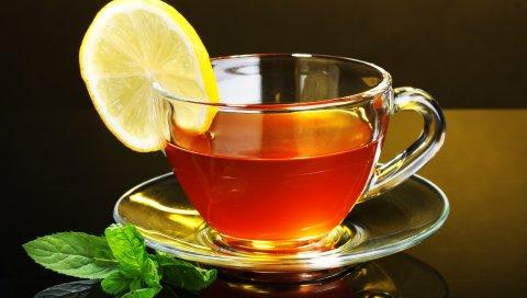 Чай, крупный план, стол, чайные листья