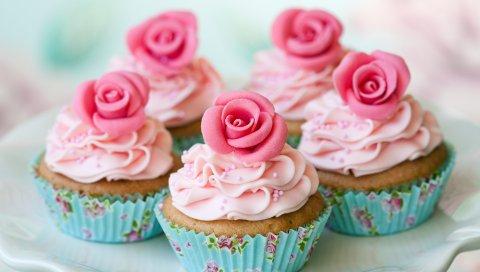 Блюдо, кексы, розы, сливки, десерт