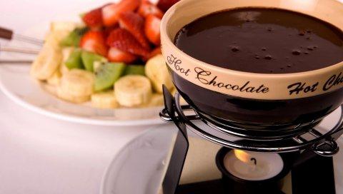 Шоколад, клубника, горячий, вкусный