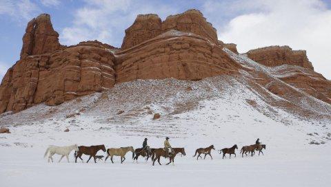Лошади, ковбои, снег, америка, вайоминг, плато, небо
