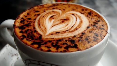 Кофе, капучино, сердце, кожа