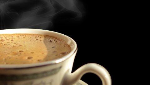 Кофе, пена, черный фон,
